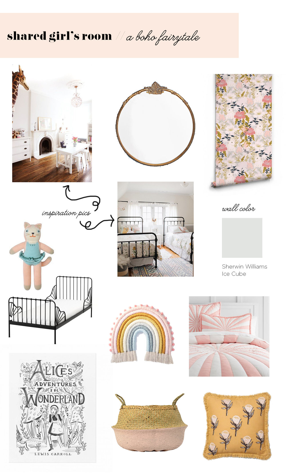 shared girls room // eclectic kids room