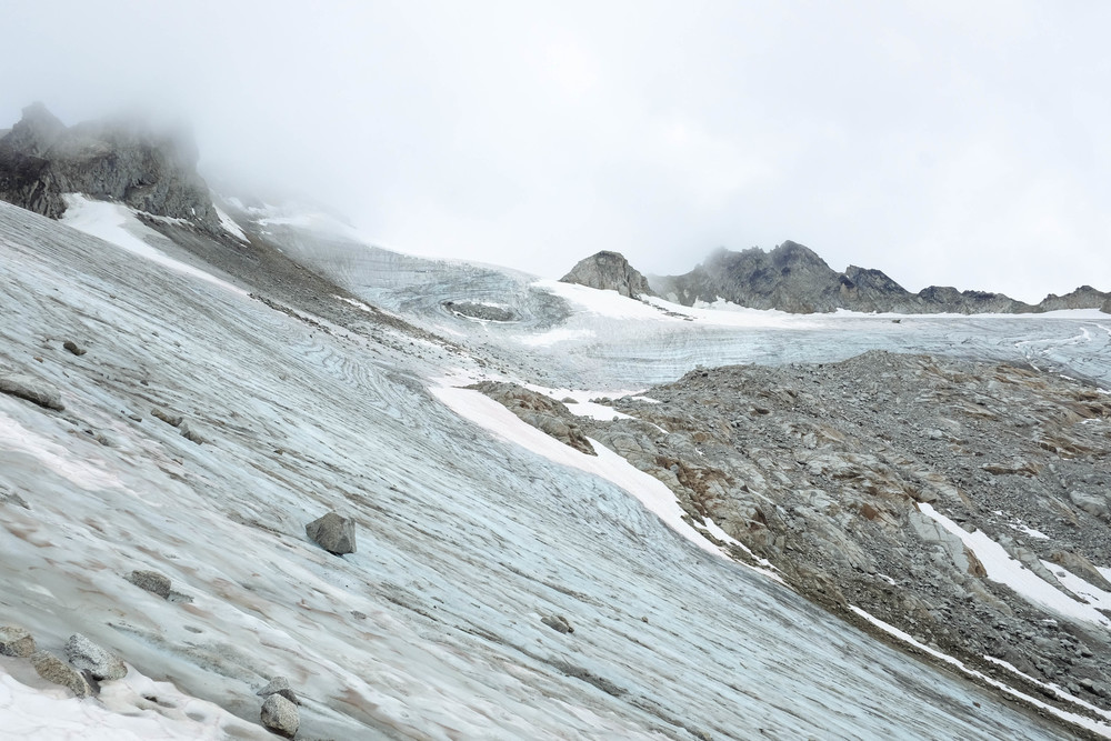 Walking on the Penny Royal Glacier in the Talkeetna Mountains.