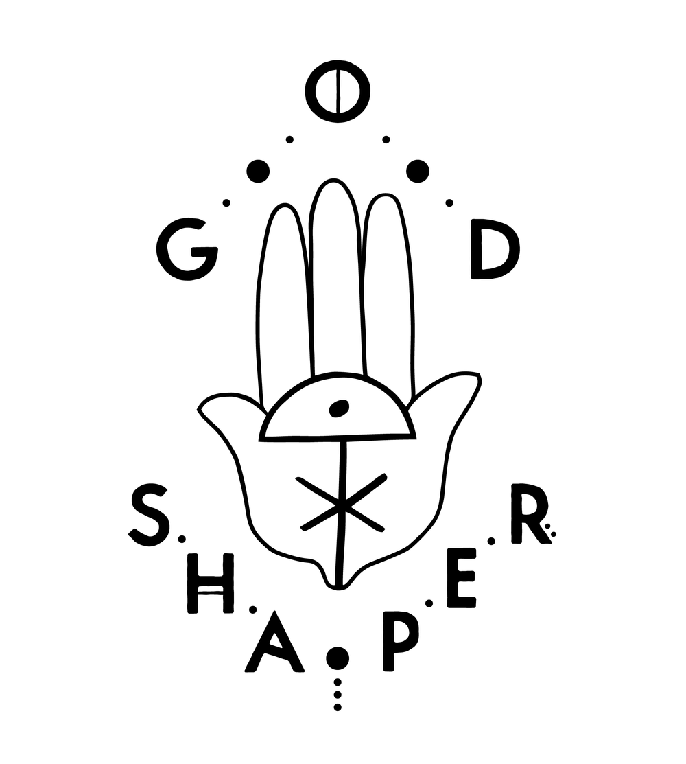 Alternate style of the logo, used on the back cover and in marketing assets. The hand illustration comes from  the card that sits in Ennay's hat. The symbol is another design asset used in the book and collection design.