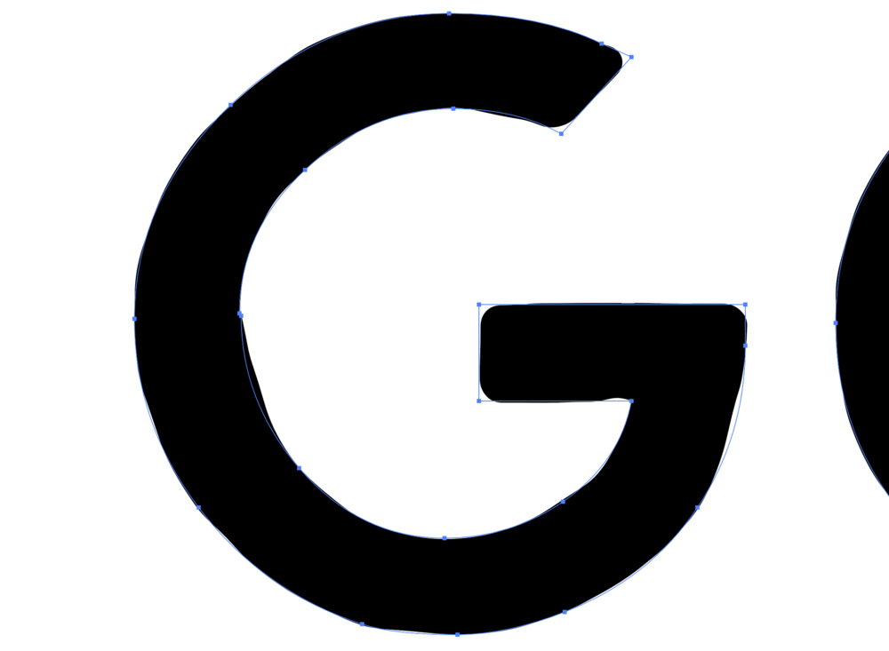 Detail image of the  Godshaper  logo with the roughness added, before outlining the effect.
