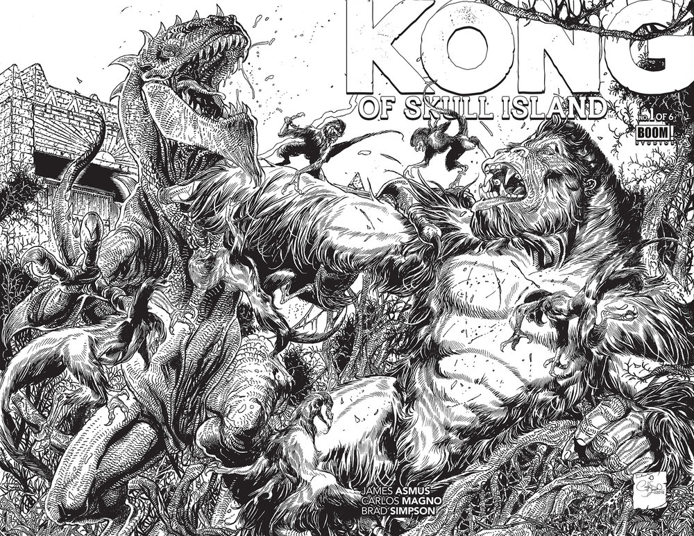 Wrap around exclusive coloring book cover of KONG King of Skull Island.
