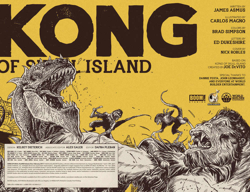 Interior credits page for  Kong of Skull Island  Vol. 1