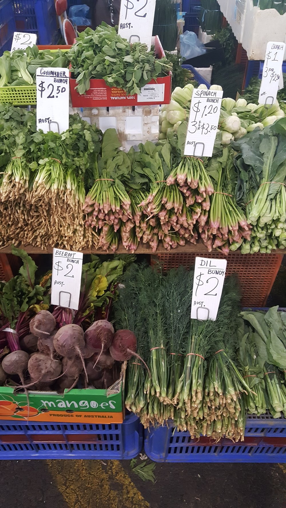 Affordable greens at the markets.