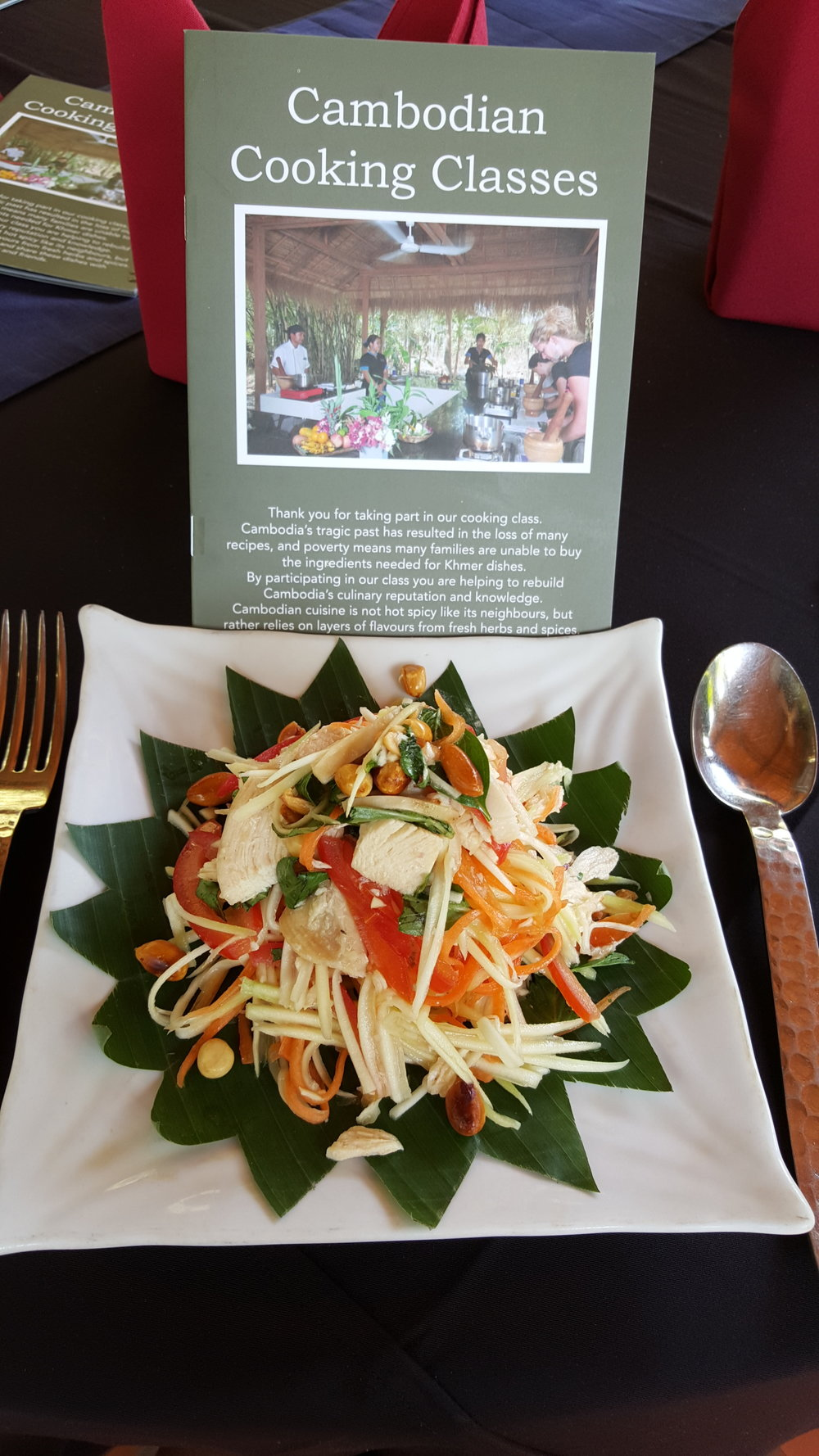 Fresh papaya salad made in a Cambodian cooking class.
