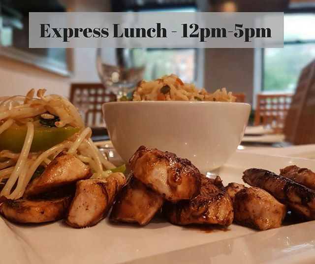 Come on down to Teppanyaki Chinatown and get your Express Lunch for only £7.95! . You get a choice of 4 options: Duck with Tokyo Sauce, Salmon Fillet with Ginger & Garlic, Chicken Teriyaki (featured), or Tofu Steak & Aubergine. All served with Fried Rice + Drink. . (Available every Monday-Friday 12pm-5pm.)