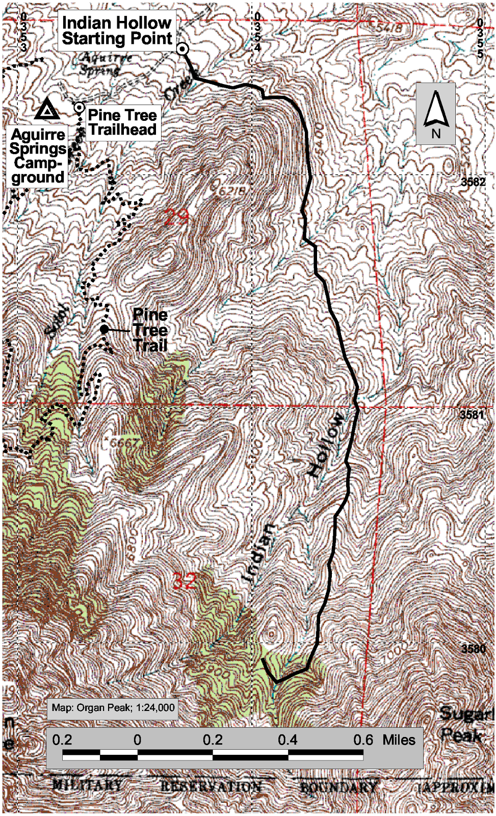 map of indian hollow hiking