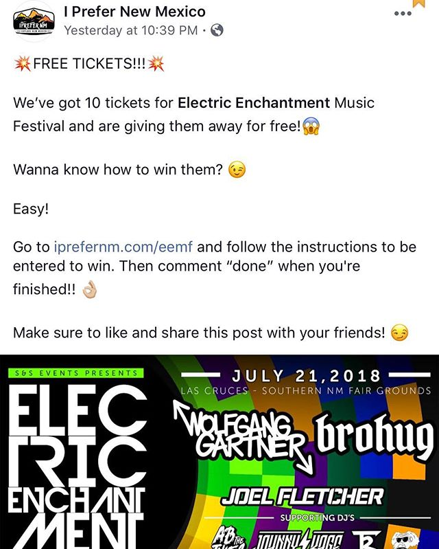 💥WE ARE GIVING AWAY FREE TICKETS! To enter, click the link in our Bio to get started. #electricenchantment