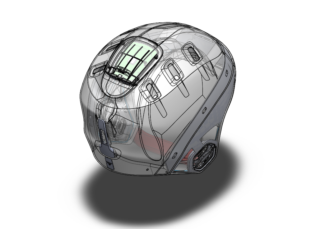 INDUSTRIAL DESIGN Mechanical design, safe layout and integration of electronics into partnered company's helmet design