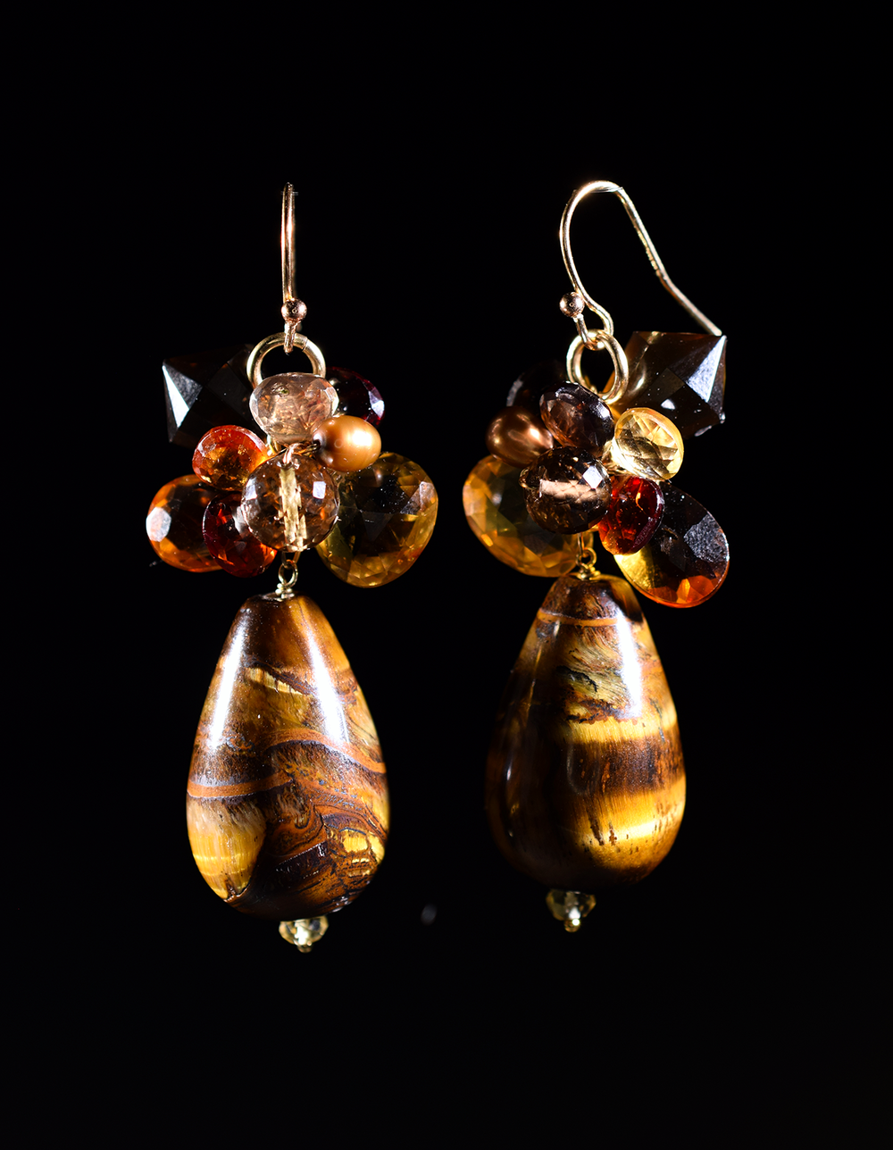 Cats Eye tundra sapphire citrine whiskey topaz drop earrings