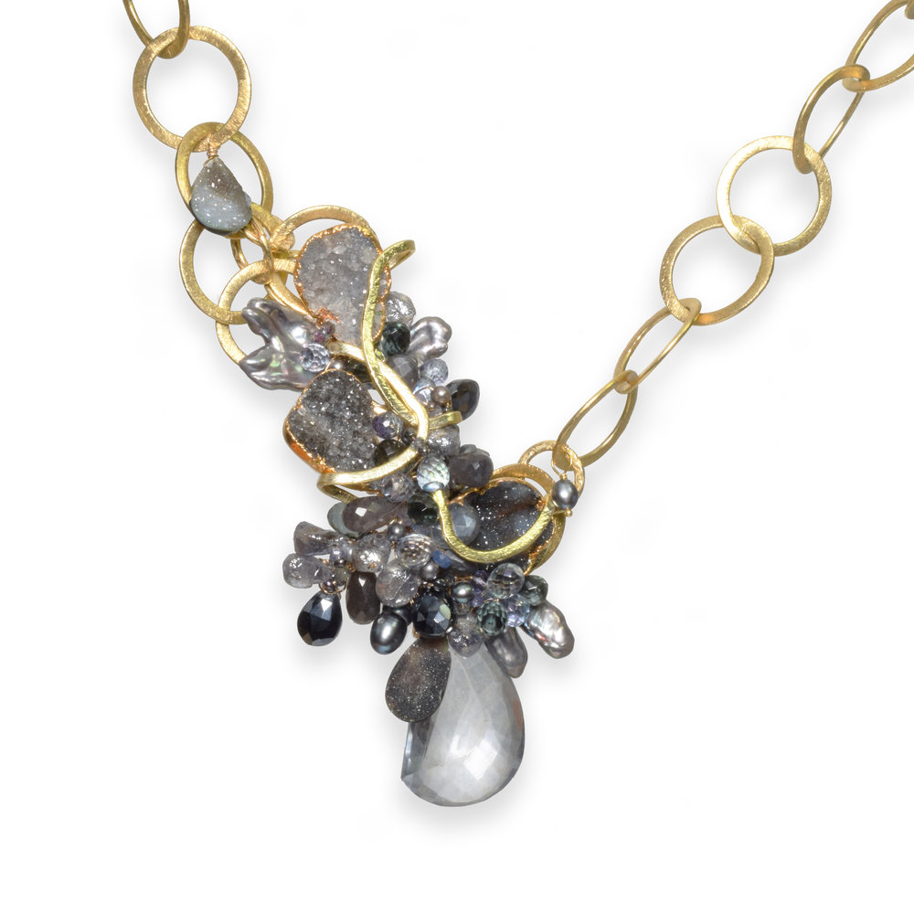 druzy gemstone gold necklace
