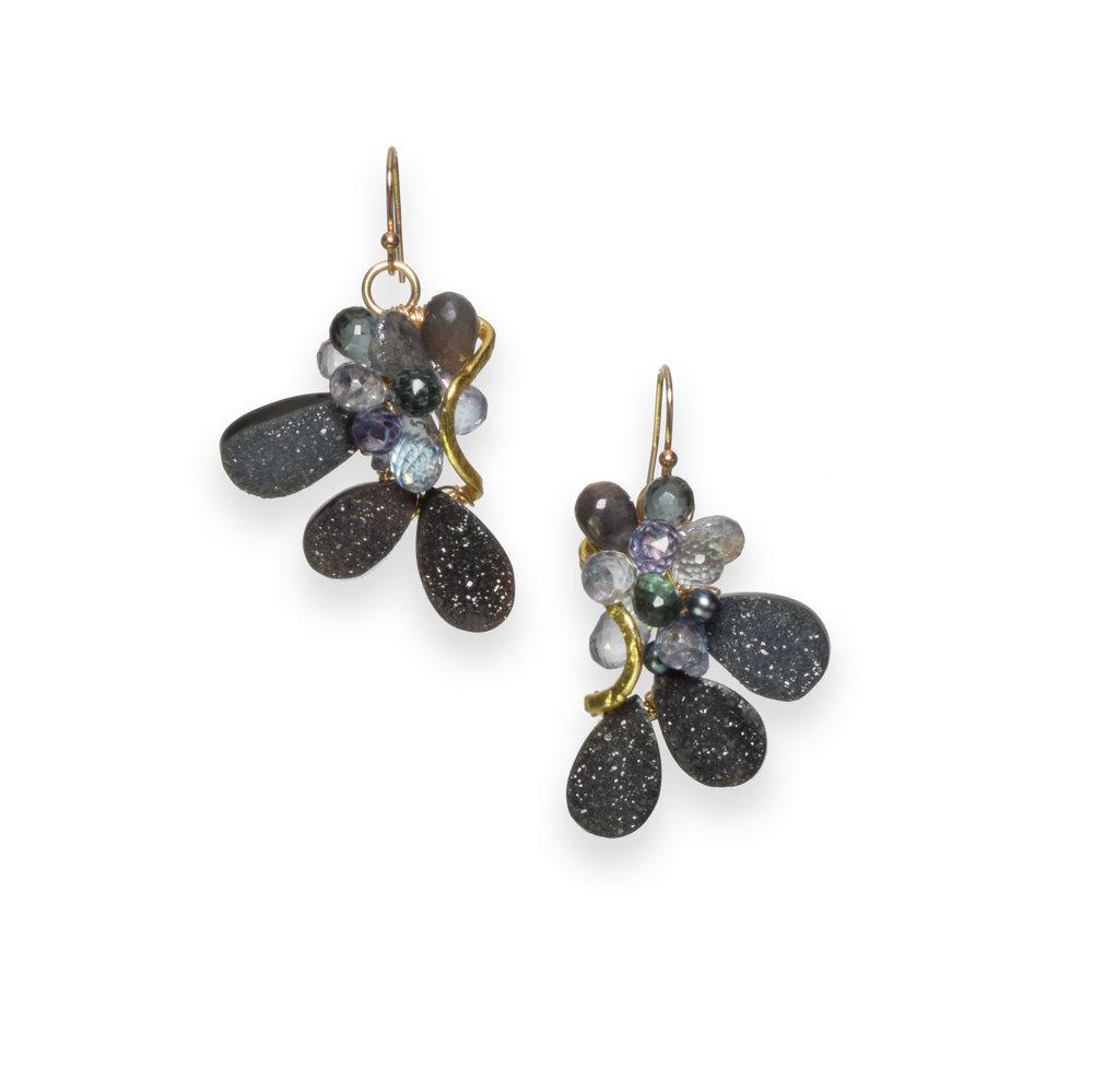 Druzy gemstone gold earrings
