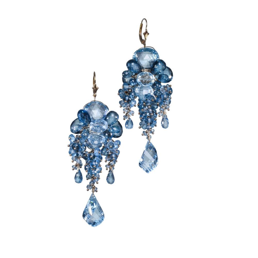 Swiss blue topaz London blue chandelier earrings