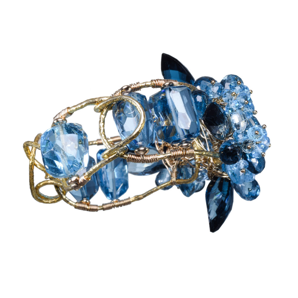 Swiss blue topaz London blue topaz bracelet