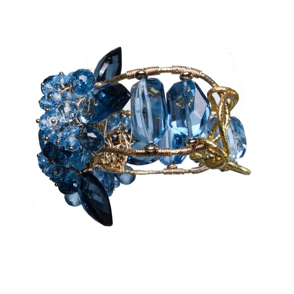 Swiss blue topaz London blue topaz gold bracelet