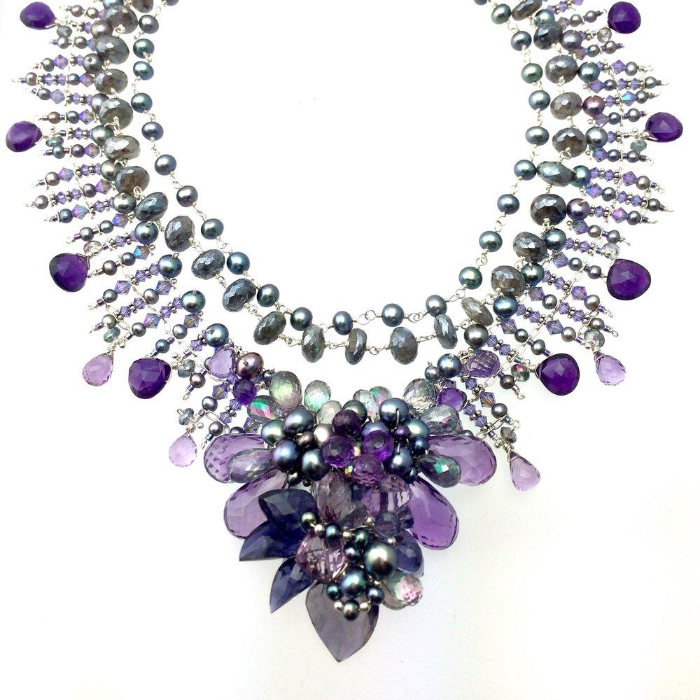 Amethyst gemstone pearl silver necklace