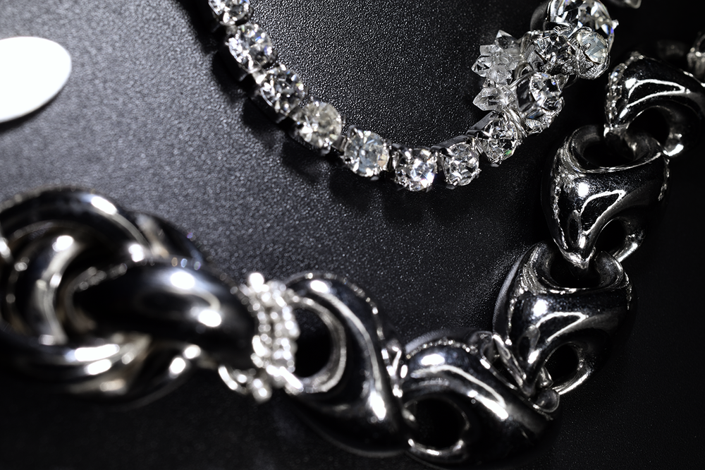 vintage rhinestone silver statement necklace
