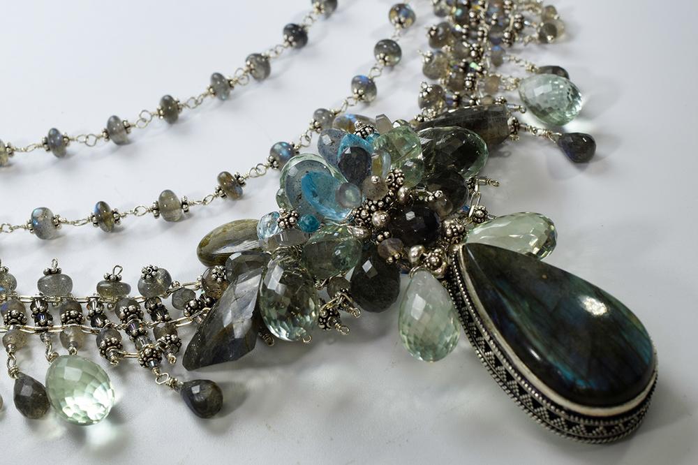 Labradorite statement necklace