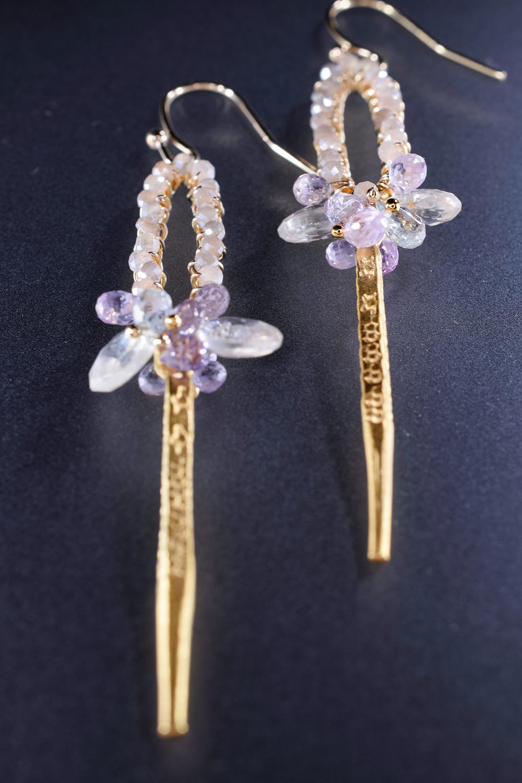 custom earrings with gemstones and 24k gold vermeil spike