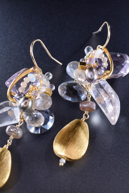 Custom earrings gemstones 24k gold vermeil