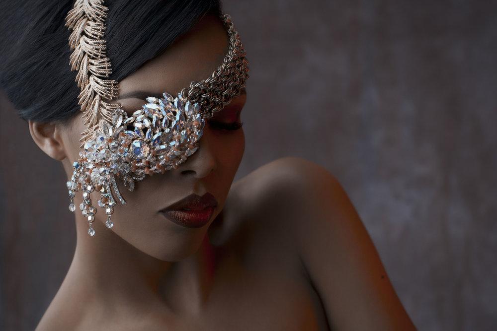 model wearing statement vintage assemblage rhinestone necklace