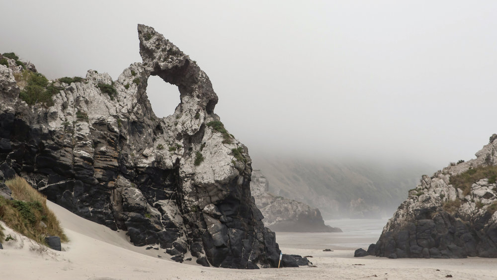 April 1. Aramoana: the place of New Zealand's only mass shooting and also this cool shaped rock.