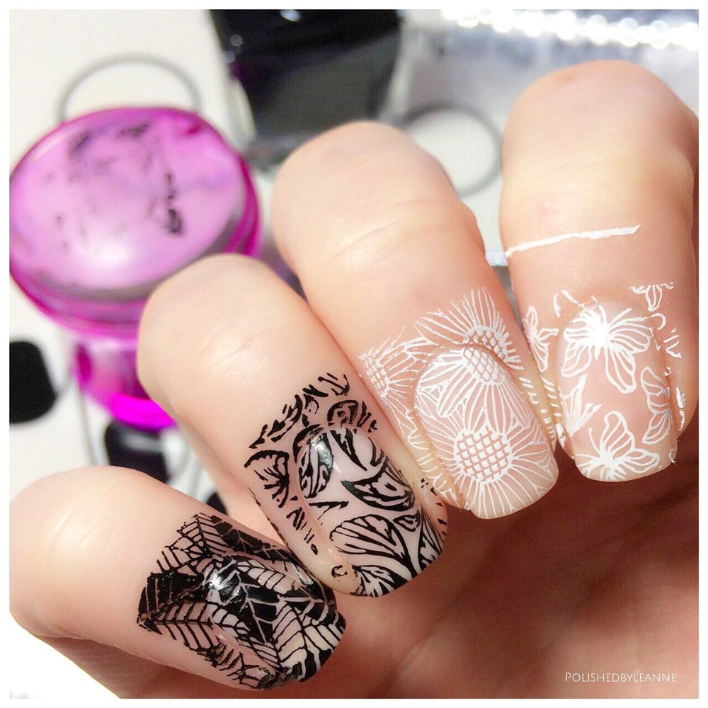 Black and White Nail Stamping