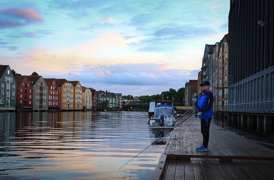 Fiske vid bryggan i Trondheim