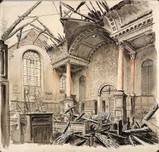 Cecil Beaton:   Bomb damage to the Church of St. Anne and St. Agnes  , 1940