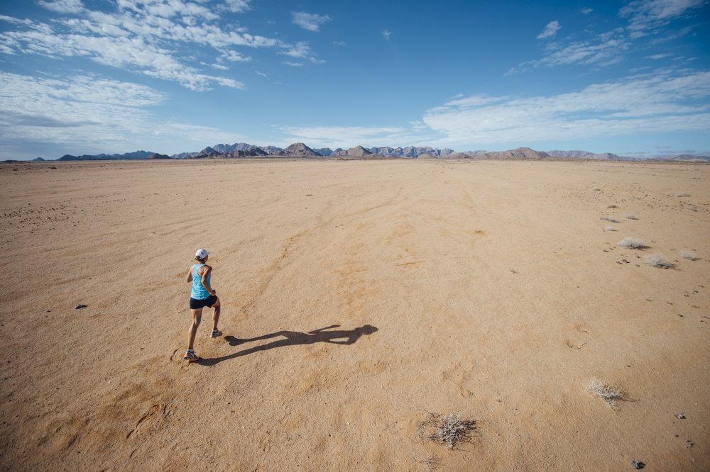Mina Guli Running across a desert in South Africa
