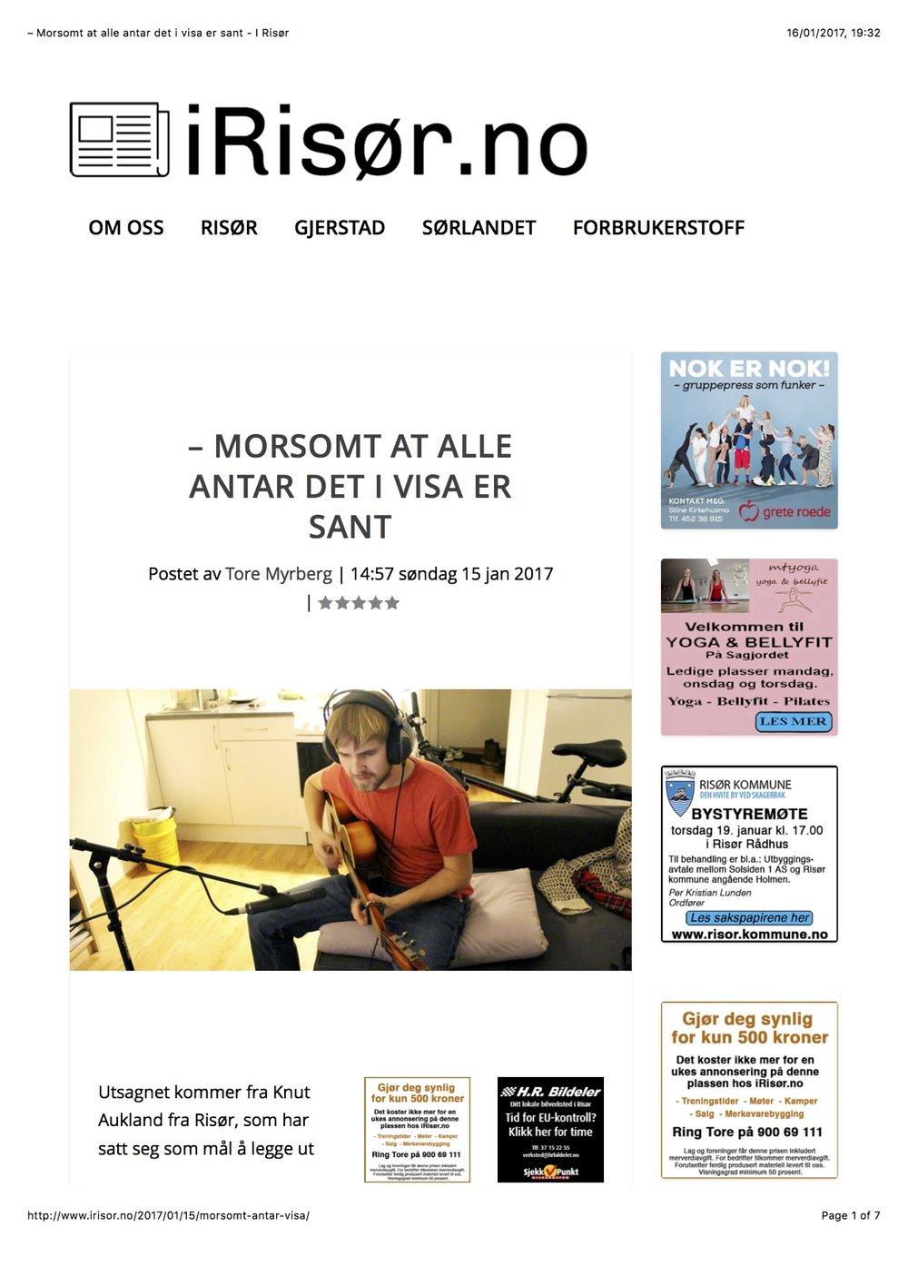 iRisør, 15.1.2017; http://www.irisor.no/2017/01/15/morsomt-antar-visa/