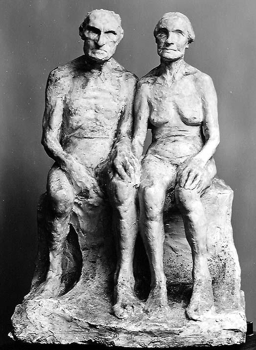 Gammel mann og kvinne  av Gustav Vigeland, 1895.