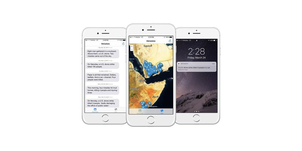 Josh Begleys app het først  Drones+ før den senere fikk navnet  Metadata+