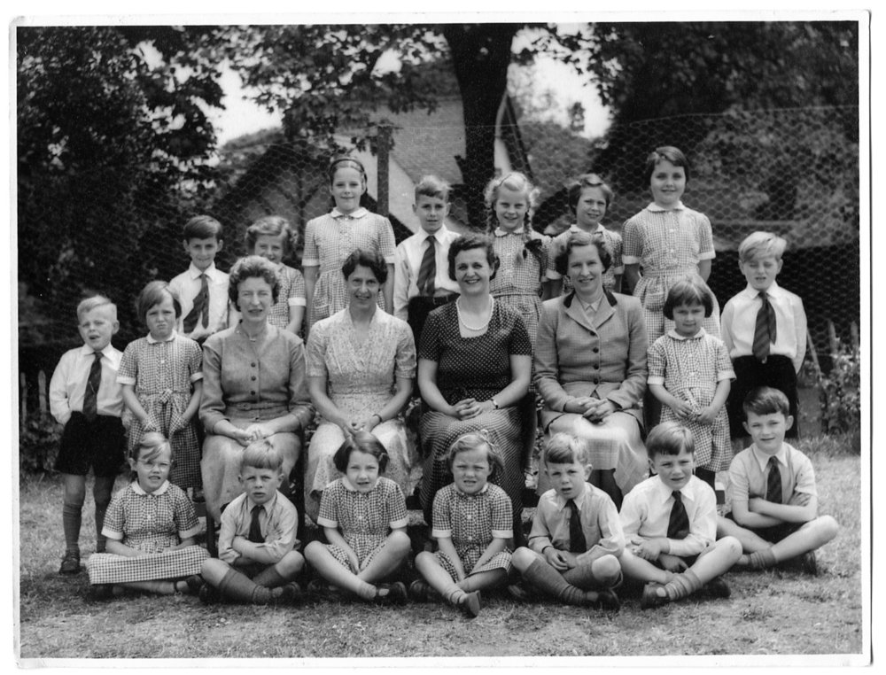 The very first teachers and pupils at the school back in 1956