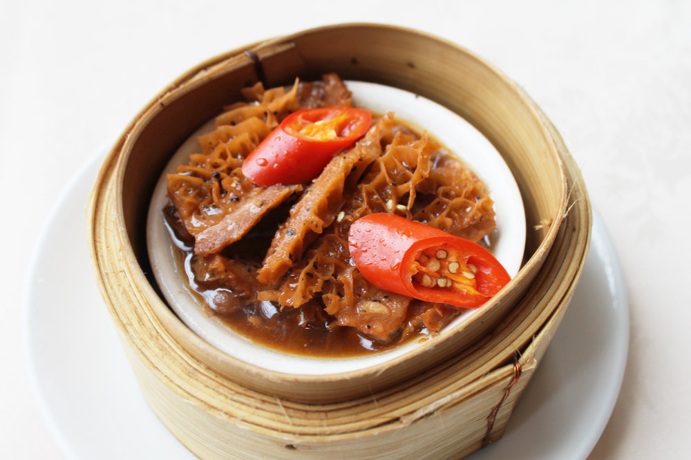 XO黑椒金钱肚  Stewed XO Tripe in Black Pepper Sauce  £3.50