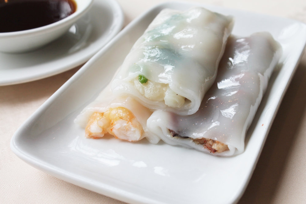 三宝滑肠粉  Three Delicacies Cheung Fun (prawn, pork & fish)  £4.40