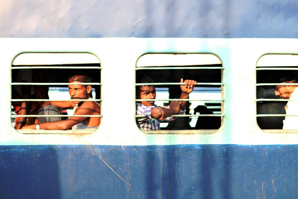 Passengers in a train from North Bihar at Ludhiana Railway Station. Credit: Atul Anand