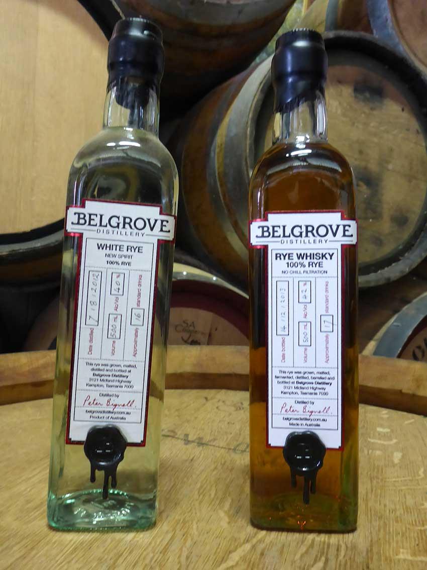 Belgrove rye spirit and rye whisky