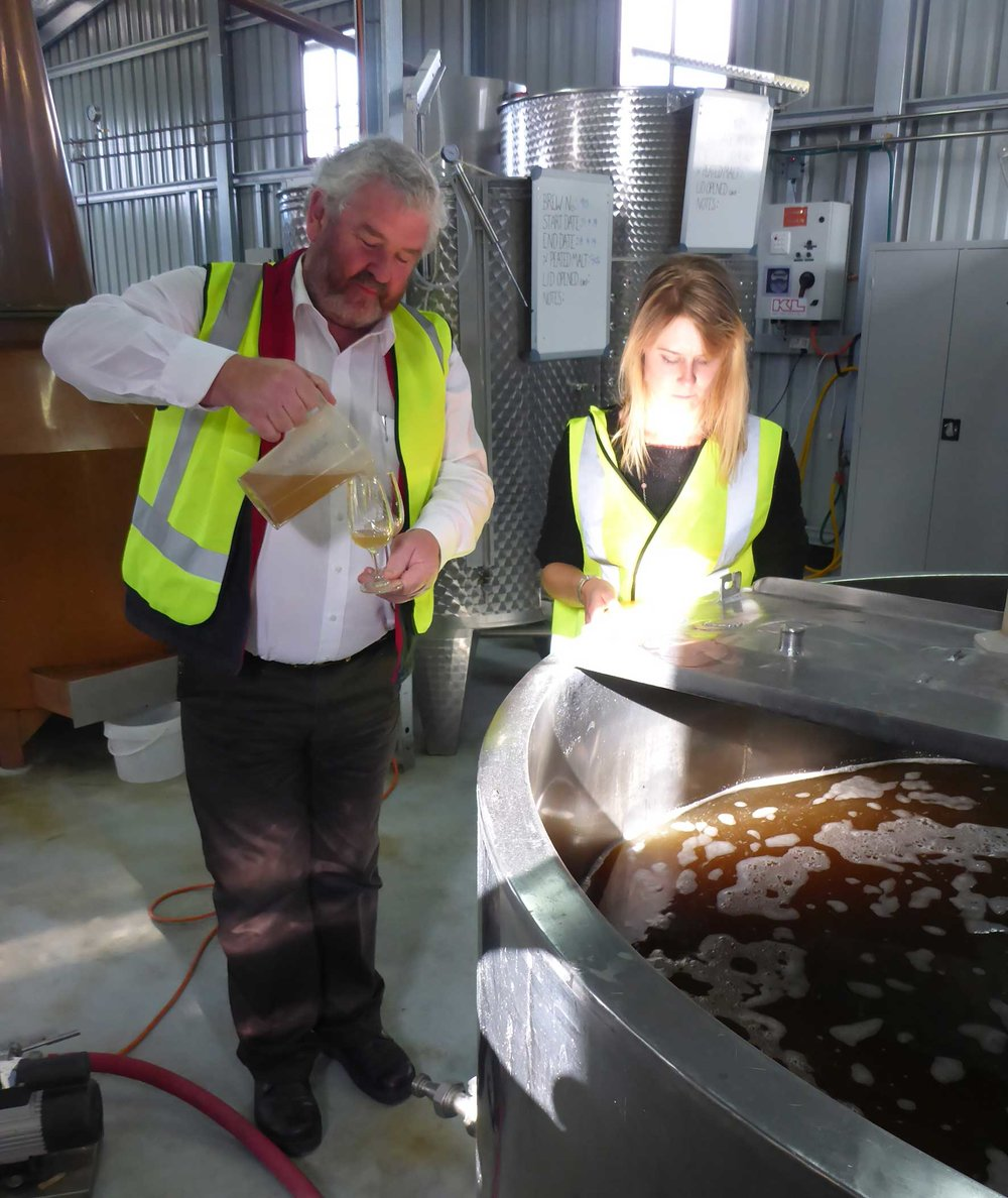 Tasting the fresh wort at Lark Distillery