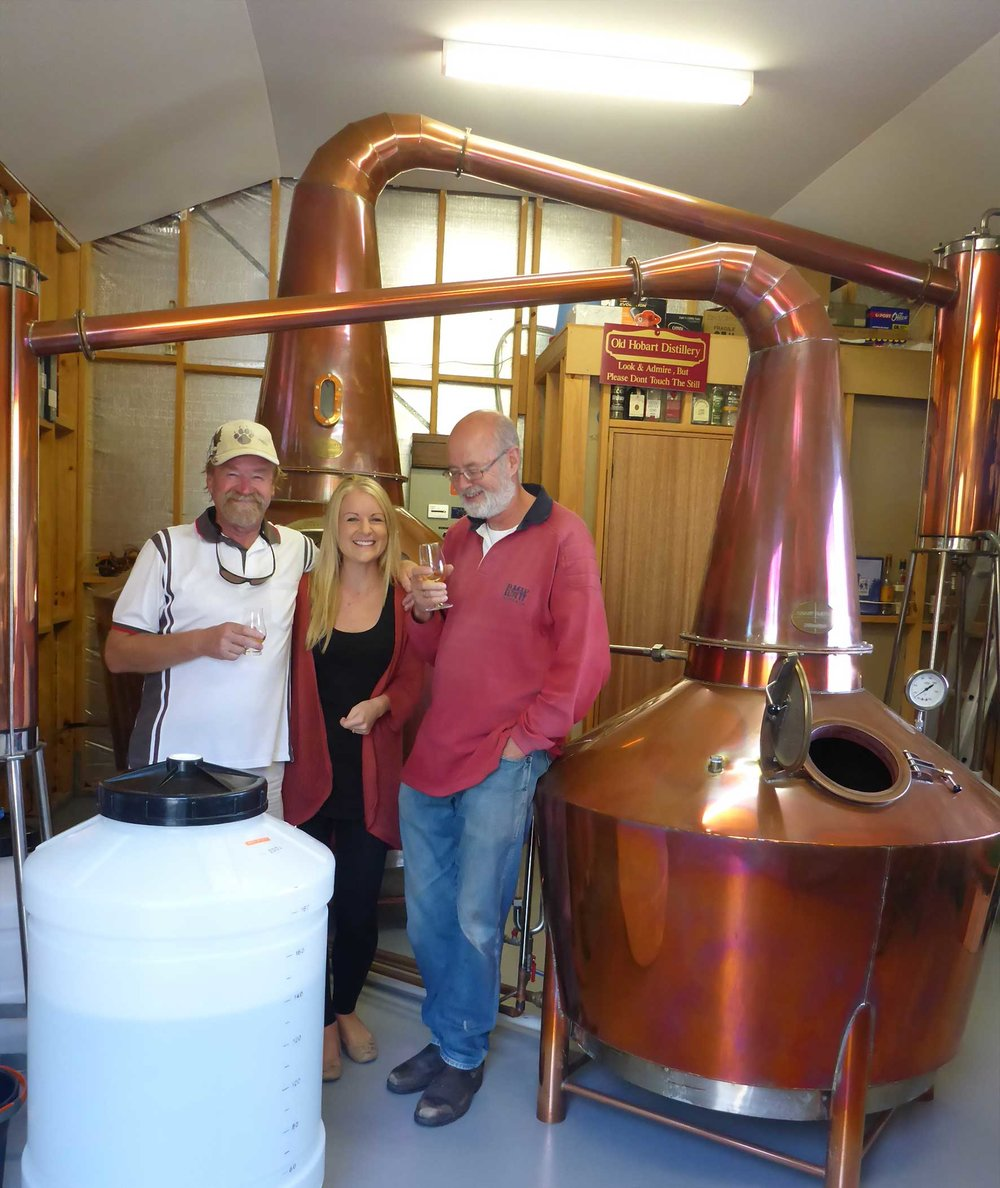 The brains behind Overeem Whisky: Casey and Jane Overeem with Wim, the distiller