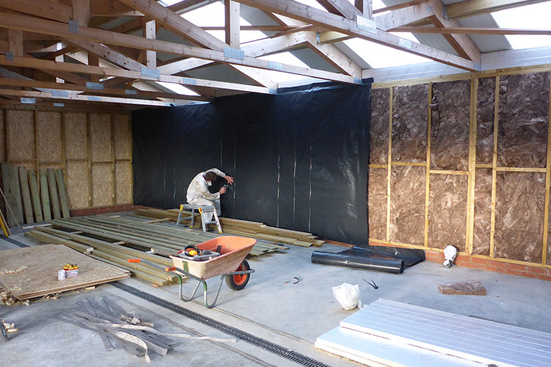 Insulation and vapour control layer progressing nicely thanks to Charlie