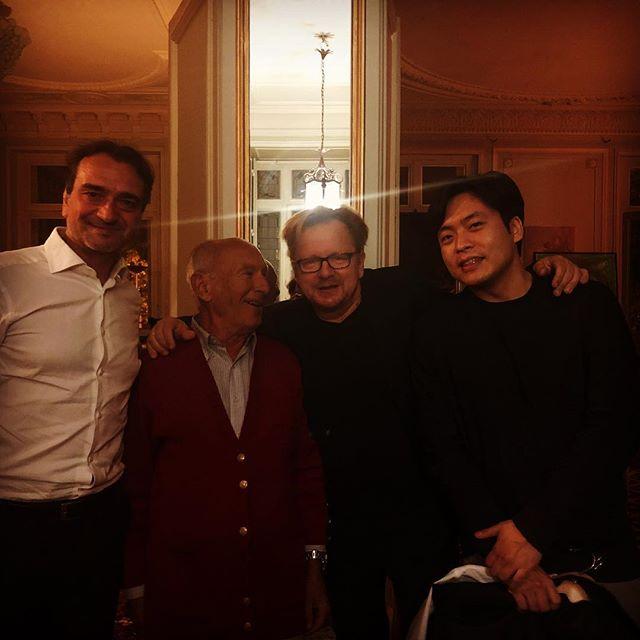 Soirée mémorable après le deuxième concert du cycle Brahms Lundi 15 De droite à gauche : Alessio Alegrini - Andre Furno @fuchsclarinet @sunwookkim88 #lasuiteenjanvier!