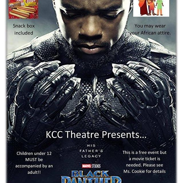 Start your weekend off early with the movie that is regarded as one of the best Marvel movies to date. KCC Theatre is showing the Black Panther tomorrow, October 11th at 6 pm. If you plan on attending, please contact Ms. Cookie at (302) 764-9022. Free Tickets are required!