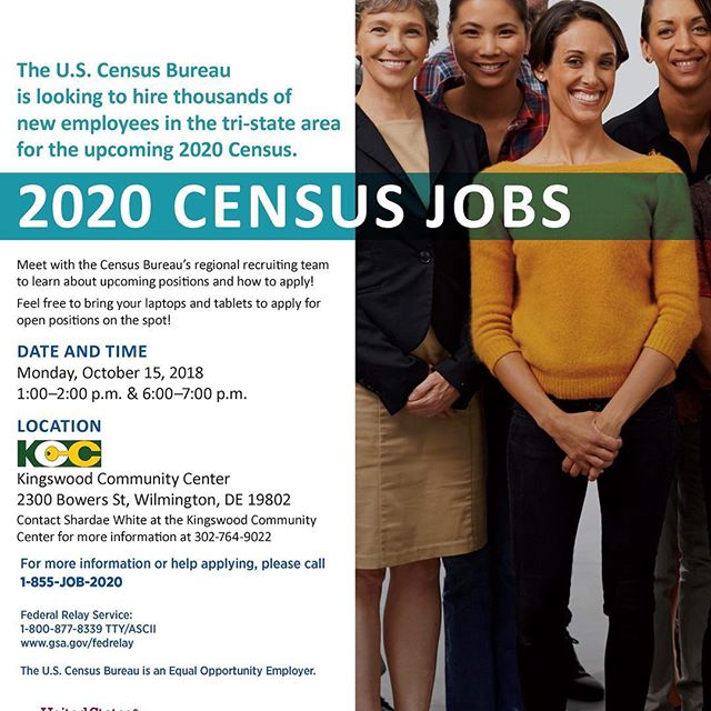 Monday is a very busy day at Kingswood Community center! At 1-2 PM, stop by and speak with the recruiting team from the Census Bureau about applying for a 2020 Census Job. If you can't make the 1-2 time, stop by from 6-7 pm!