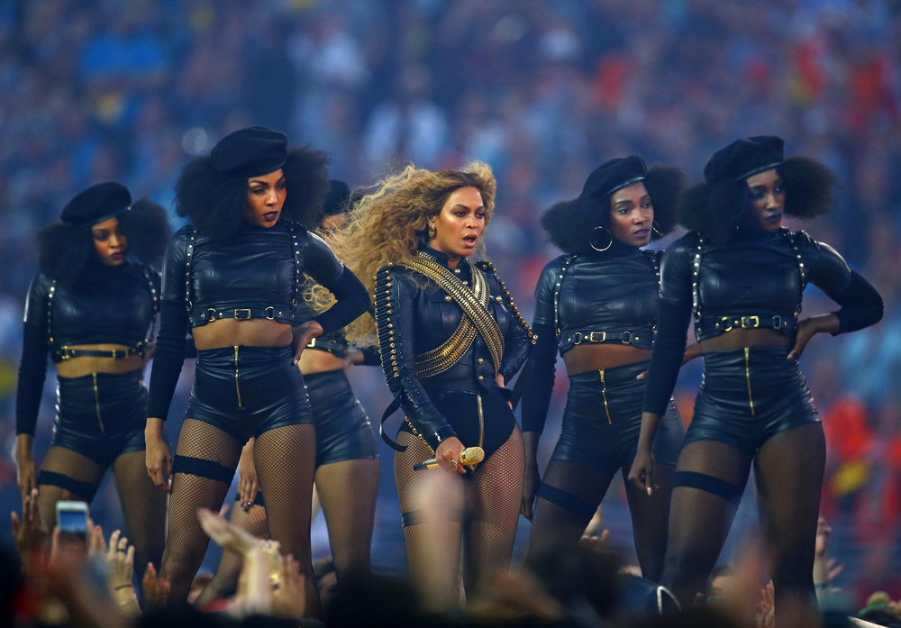 Beyonce at the 2016 Superbowl in Formation