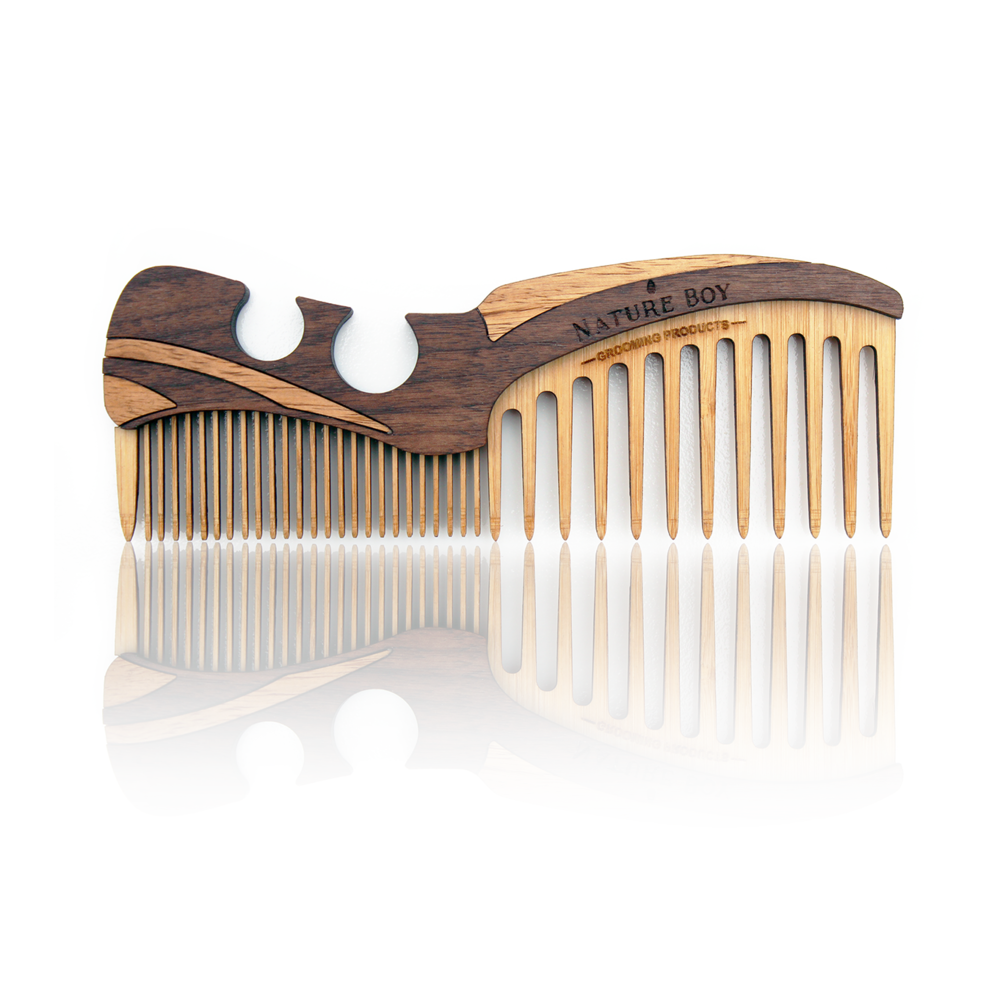 New 100% Natural WOODEN BEARD COMB, made with pure Bamboo, Mahogany and African Mukwawoods. $34+ shipping  A collaborative design by @Carbon-ar x @NatureboyIG