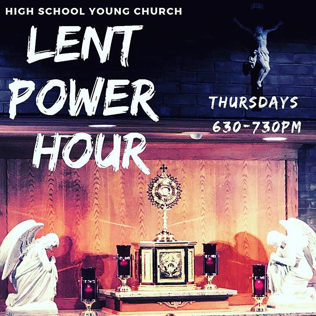 Stay for as long or as short as you like. He misses you. Join us for our Lent power hour to recharge with Jesus. . . . . . . #catholic #lent #adoration #highschool #hcyoungchurch #catholicyouth #youthgroup #social #jesus #mothermary #tabernacle #stressfree #love