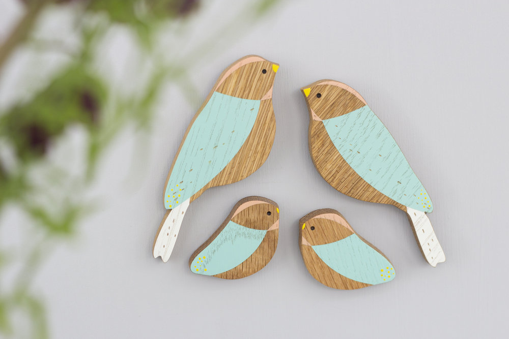 Family sets of wooden wall birds - great gifts for Mums, Mums to be, Grandmothers or any lovely lady in your life!  Also available individually or as pairs.