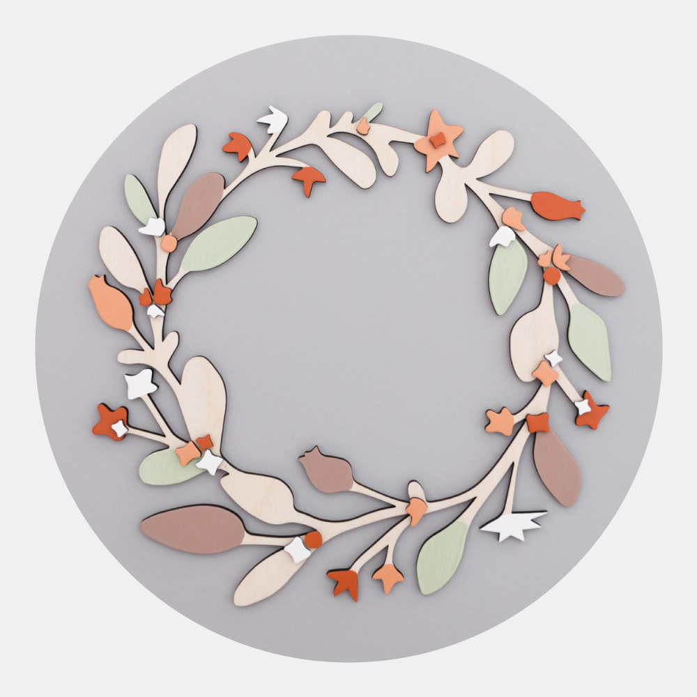 Wooden Wreath - The beautiful winter flora of the English countryside celebrated in this stunning wooden wreath. Hand-painted with love and care: a true heirloom piece to be enjoyed for generations.