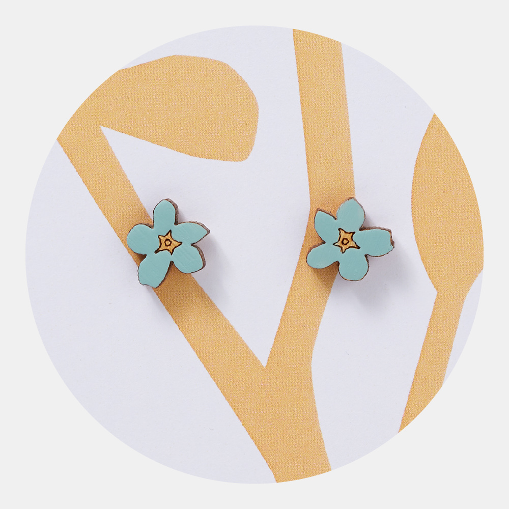 Forget-Me-Not Earrings - A thoughtful gift with a deeper meaning. Floral earrings in bright spring colours. Light, easy-to-wear, silver-plated stud backs mounted on pretty floral backing card.