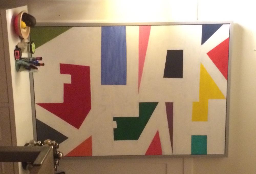 """Acrylic painted over Ikea """"art""""."""
